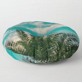Palms on Turquoise - II Floor Pillow