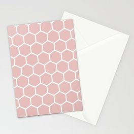 White and neutral beige honeycomb pattern Stationery Cards
