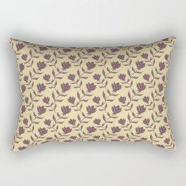 Elegant classy distressed dark brown rose flowers pattern design. Retro vintage creamy beige floral Rectangular Pillow
