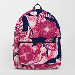 Artsy Modern Fuschia Navy Acrylic Floral Leaves Backpack