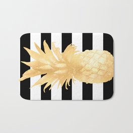 Gold Pineapple Black and White Stripes Bath Mat