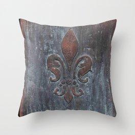 Fleur De Lis Patina Plaque - Original Art by Tracy Sayers Trombetta Throw Pillow