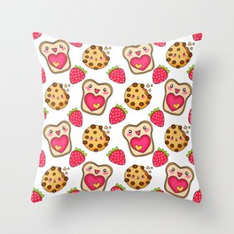 Cute funny sweet adorable happy Kawaii toast with raspberry jam and butter, chocolate chip cookies and red ripe summer strawberries cartoon fantasy white pattern design Throw Pillow