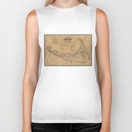 Vintage Map of Nantucket (1869)  Biker Tank