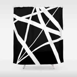 Geometric Line Abstract - Black White Shower Curtain