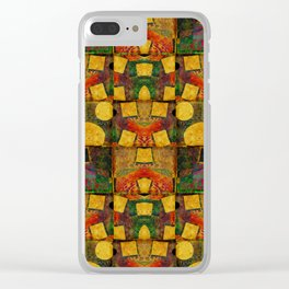 """Retro Gold Art Deco Pattern"" Clear iPhone Case"