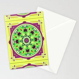 Boho Floral Crest Yellow Stationery Cards