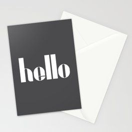 Hello (Charcoal Black) Stationery Cards