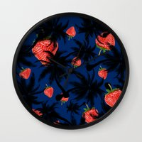 strawberry Wall Clocks featuring strawberry  by mark ashkenazi