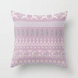 Scandi Knit Ornaments pattern 8 Throw Pillow