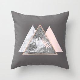 BLUSH GRAY COPPER MARBLE GEOMETRIC PATTERN Throw Pillow