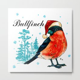 Funny bullfinch in a red cap Metal Print