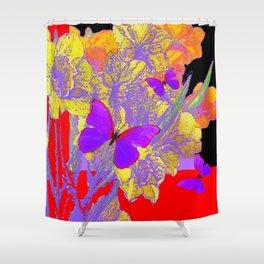 CERISE PURPLE BUTTERFLIES RED & BLACK FLORALS Shower Curtain