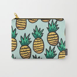 Pineapple illustration pattern on blue background Carry-All Pouch