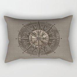 Vegvisir - Viking Compass - Beige Leather and gold Rectangular Pillow