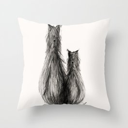 Cat, dog or hairy creature? Throw Pillow