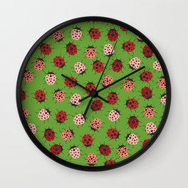 All over Modern Ladybug on Green Background Wall Clock