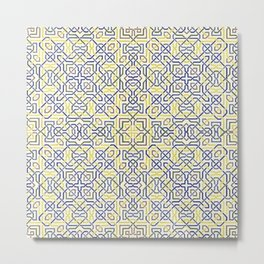 Middle Eastern Tile Pattern in Blue and Yellow #1 Metal Print