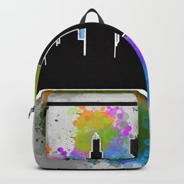 Watercolor art of the Chicago skyline silhouette Backpack