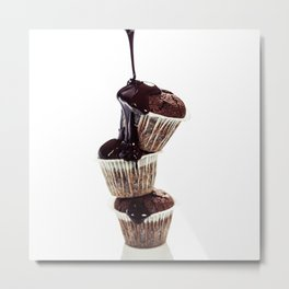 muffins with chocolate sauce over white Metal Print