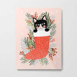 Cat on a sock. Holiday. Christmas Metal Print