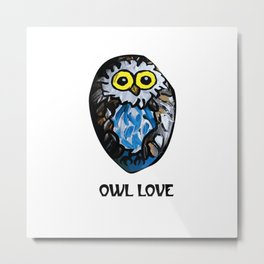 Owl Love Rock Painting on River Rock by annmariescreations Metal Print