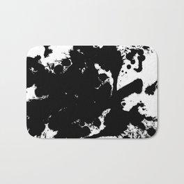 Black and white splat - Abstract, black paint splatter painting Bath Mat