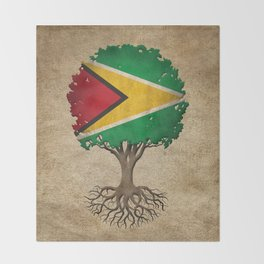 Vintage Tree of Life with Flag of Guyana Throw Blanket