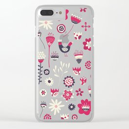 Scandi Birds and Flowers Blue Clear iPhone Case