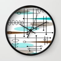 mid century modern Wall Clocks featuring Mid-Century Modern Atomic Inspired by Kippygirl