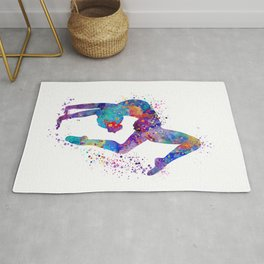 Girl Gymnastics Tumbling Colorful Watercolor Artwork Rug