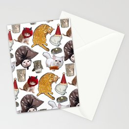 Crazy Cats Funny Meme Repeating Pattern Stationery Cards