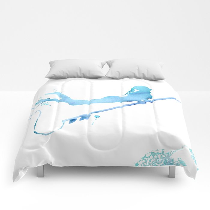 87e66f7159728 Duck Diving - Surf Art of Surfer Girl Comforters by coraillustration ...