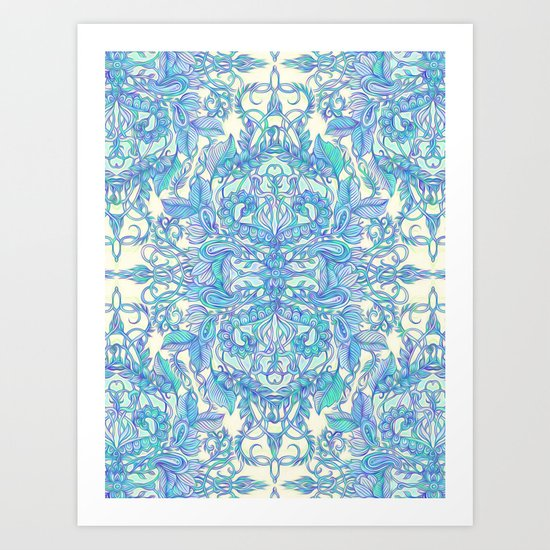 Lilac, Mint & Aqua Art Nouveau Pattern Art Print