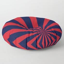 Retro dark blue and red sunburst style abstract background. Floor Pillow