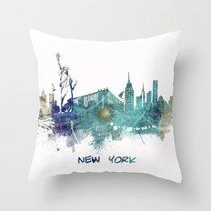 New York City Skyline blue Throw Pillow