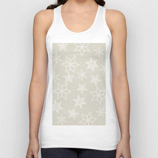 Snowflakes on beige background Unisex Tank Top