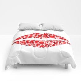 Red Lips Art - Big Kiss - Sharon Cummings Comforters