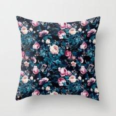 Roses Blue Throw Pillow