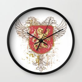 Coat of Arms Shield - Griffin Seal - Crown Lion and the Mark Wall Clock