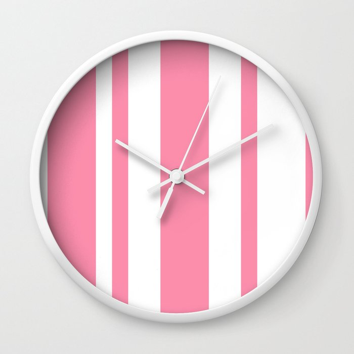 Mixed Vertical Stripes - White and Flamingo Pink Wall Clock