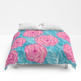 Tropical Palm Leaves and Roses Print Comforters