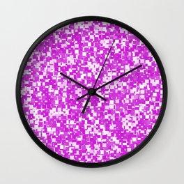 Dazzling Violet Pixels Wall Clock