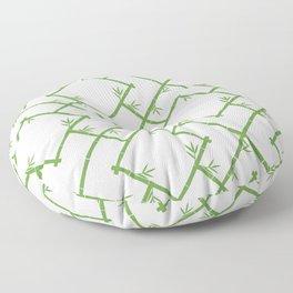 Bamboo Chinoiserie Lattice in White + Green Floor Pillow