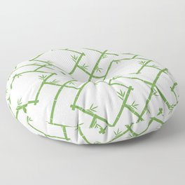 Bamboo Chinoiserie Lattice in White + Green Floor Pillow