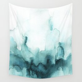 Soft teal abstract watercolor Wall Tapestry