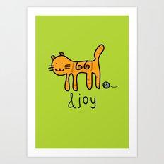 Cute Cat &joy Doodle Drawing Art Print