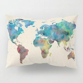 World Map Watercolor Linen Blue Red Yellow Green Pillow Sham