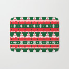 Beary Christmas / Festive Christmas Bears Trees Snowflakes Bath Mat