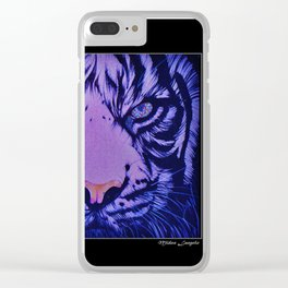 Rainbow Eye of The Tiger : Blue Topaz Clear iPhone Case